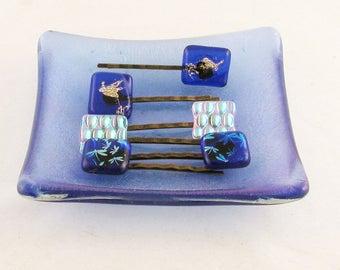 Fused Glass Bobby Pins - Hair Clips - Dragonflies or hummingbird hair pins - Dichroic hair jewelry  (4347-4581-4582)
