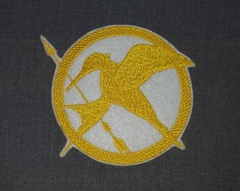 Yellow Mocking Jay  Iron on No Sew Embroidered Patch Applique