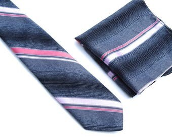 Vintage Tie & Pocket Squrare,80s Polyester Tie,Trevira® Collection Matching Set,Grey and Pink Necktie,Diagonal Striped Slim Tie,Hipster Tie