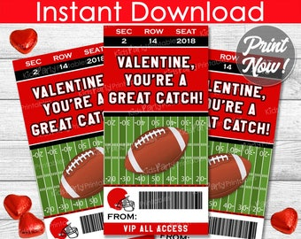 Football Valentines Day Cards, INSTANT DOWNLOAD Football Valentine Cards, Printable Sports Valentines, Kids Classroom Boy Valentine DIY