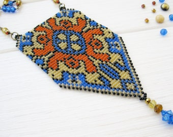 Beaded persian loom pendant, asia necklace, fashion 2017, exclusive handmade necklace, summer jewelry, OOAK seed bead necklace, gift for her