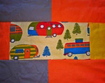 Happy Camper Quilt, Retro Camper, Travel Trailer Decor, Retro Baby Quilt, Camper Baby Bedding, Flannel Baby Blanket, Baby Boy Blanket