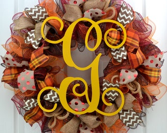 Fall Mesh Wreath - Thanksgiving Mesh Wreath - Monogram Fall Wreath - Fall wreath with Monogram - Fall Wreath with Initial Fall Letter Wreath