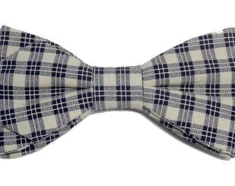 Navy cream and blue Plaid bowtie with sharp edges