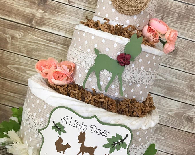 Featured listing image: A Little Dear is Almost Here Diaper Cake, Shabby Chic Baby Shower Centerpiece, Vintage Baby Shower Decor