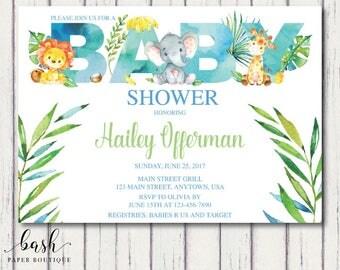 Jungle Baby Shower Invitations, Jungle Baby Shower, Jungle Baby Shower  Invite, Watercolor Baby