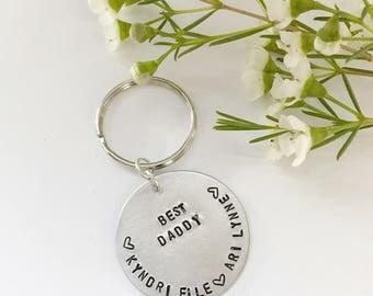 Best Daddy stamped keychain