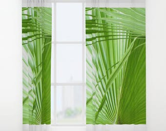 Tropical Curtains, Modern Art Drapes, Palm Leaf Drape, Custom Drapes,  Window Covers