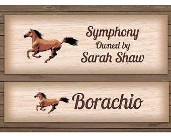 HORSE NAME / Stable Sign Wood Effect Design in Metal - Add Your Own Text / Photo