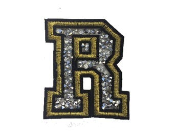 "Letter ""R"" Rhinestone Patch"