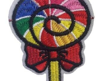 Rainbow Lollipop Iron-On Patch