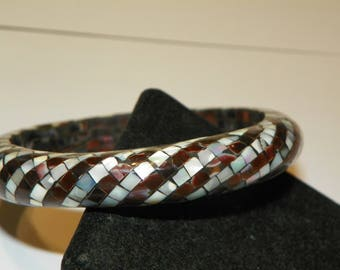 Mosaic Abalone Shell & Mother of Pearl Inlay Swirl Lacquer Bangle Bracelet