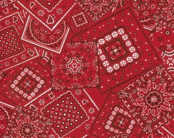 Red Bunk House Western Bandana Print, Western Basics, Moda (By 1/2 yd)