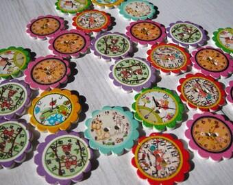 """Set of 4 """"clock"""" wooden buttons"""