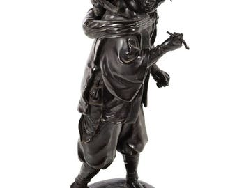 Antique Japanese Bronze sculpture- Man w/a Monkey on his back -Signed