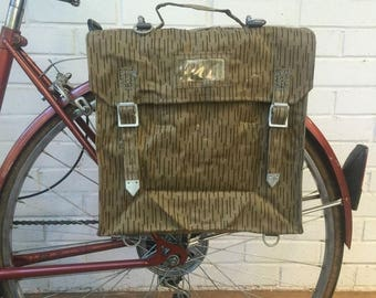 Discounted Regular Price East German Military Surplus Vintage Bicycle Pannier Backpack Bag circa 60's & 70's