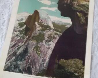 Vintage 40s Print Half Dome From Glacier Point Yosemite National Park