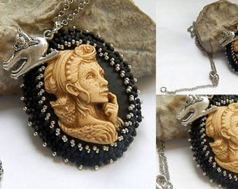 Cameo woman black and silver pendant