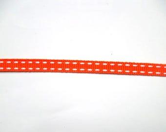 2 m ribbon coarse grain - 9 mm - orange, white dashes