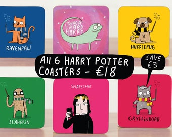 All the Harry Potter Coasters Gift  - Harry Potter fan art  - Pun Coaster - Gift for him - Gift for her - Teen Gift - sloth Mat - Katie Abey