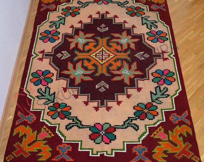 Wool Kilim Rug. Floor Runner,Organic Rug Runner. Moldovan Kilim. Colorful Kilim, Colored Rug,Boho Rug,Flatweave Rug. Bessarabian Kilim.