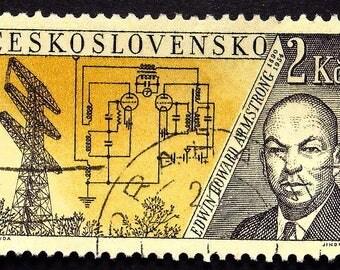 Edwin Howard Armstrong 1890-1954, Inventor FM Radio -Handmade Framed Postage Stamp Art 22507AM