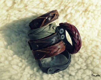 Black 100% cowhide leather strength braided bracelet