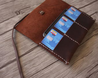 Leather iPhone 8 Sleeve, Leather Wallet Case, Travelmate Leather Portfolio, Field Notes Sleeve, Leather Wallet Small Moleskine