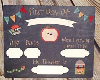 First Day of School Dry Erase Board - Back to School - PreK- Kindergarten - Elementary School - Memory Board- School Pictures