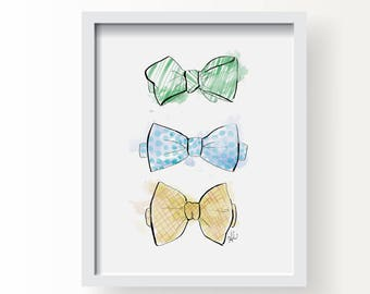 Leo's Bow Ties - Fashion Fine Art Illustration Print, Wall Art Print, Poster Illustration, Art for Home, Office