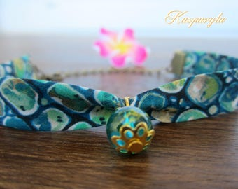 Liberty bracelet with blue pebbles and glass pearl -Ø 22 cm