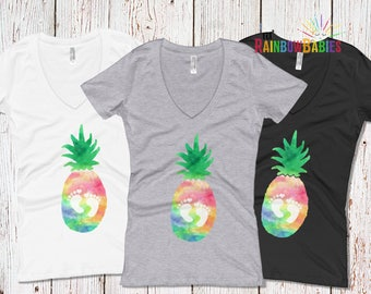Rainbow Baby Pineapple Pregnancy Shirt, Baby Footprints Maternity Shirt, Pineapple Maternity Shirt, Rainbow Pregnancy, IVF Pineapple Baby