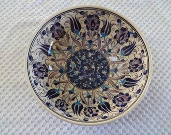 Turkish Ceramic Bowl, 10 inch bowl, serving bowl, Iznik, indigo and lavender, fruit bowl, decorative bowl, wedding present