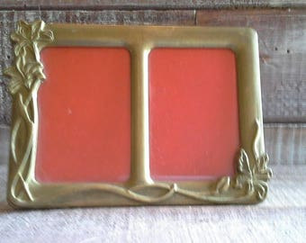 Vintage Brass Flower Double Frame