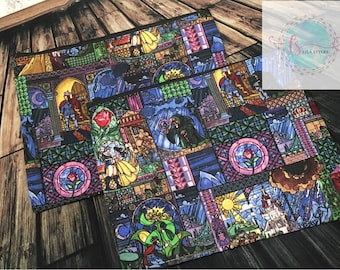 Stained glass beauty and the beast zipper bag
