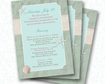 Beach Wedding Guest Itinerary - PDF - Sand, Ocean, Burlap Printable
