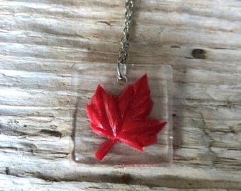 Resin Canadian Flag Maple Leaf Necklace \\ Canadian Jewelry \\ Silver Chain