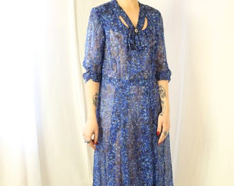 Rare 1940s plus size silk chiffon floral dress