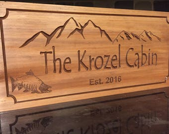 Rustic Wood Carved Ranch Cabin Signs Last Name Family Name Plaque Gift Idea Wild Sockeye Salmon Fishing Hunting Camp Sign Benchmark Sign #16