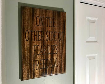 "Motivational quotes, Mahogany Plaques, Entrepreneur Gift, Positive Thinking, Words of Wisdom,""On the other side of fear lies freedom."""