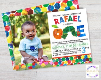 Custom Edited Birthday / First Birthday Invitation - JPG / PDF file - Hungry Caterpillar - 5 x 7 inch size (photo insert optional)