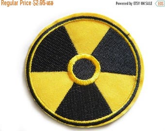 HALF PRICE Embroidered Radioactive Symbol - Iron or Sew On Applique