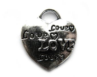 8 Silver Love Heart Charms