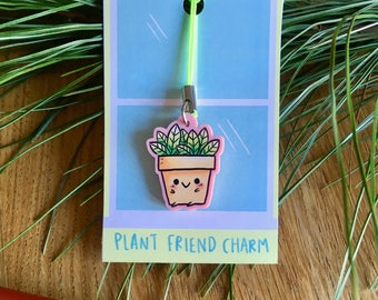 Plant Pot Charm, light pink acrylic cute zipper pull, plant, cute illustrated, quirky gift idea, geeky accessories, phone charm