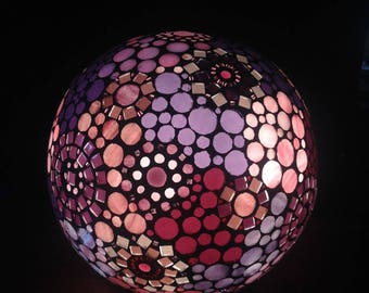 To order. Mosaic stained glass lamp shades of pink and purple tones