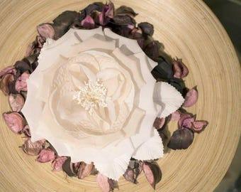 Flower silk and organza ivory