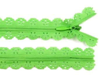 3 lime green lace 16 cm zipper