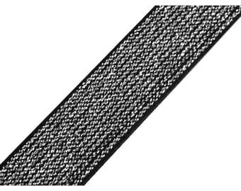 Elastic 2 cm black and silver lurex