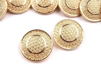5 buttons 17 mm antique gold chiseled