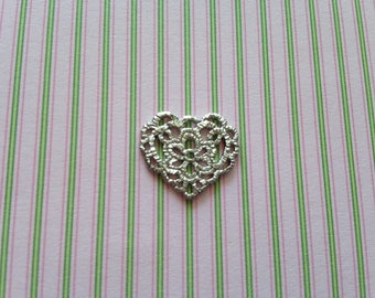 1pc charm or connector in matte silver heart shaped filigree double sided